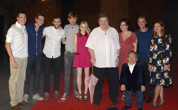 Oliver Phelps, James Phelps, Matthew Lewis, Domhnall Gleeson, Evanna Lynch, Robbie Coltrane, Helena Bonham Carter, Warwick Davis, Tom Felton and Bonnie Wright attend The Wizarding World of Harry Potter Diagon Alley Grand Opening at Universal  Orlando