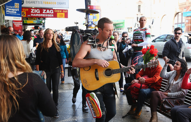 Chris Martin shooting a video in Newtown, Sydney