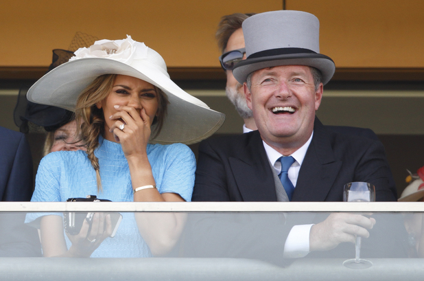 ASCOT, UNITED KINGDOM - JUNE 17: (EMBARGOED FOR PUBLICATION IN UK NEWSPAPERS UNTIL 48 HOURS AFTER CREATE DATE AND TIME) Danielle Lineker and Piers Morgan watch the racing as they attend Day 1 of Royal Ascot at Ascot Racecourse on June 17, 2014 in Ascot, England. (Photo by Max Mumby/Indigo/Getty Images)