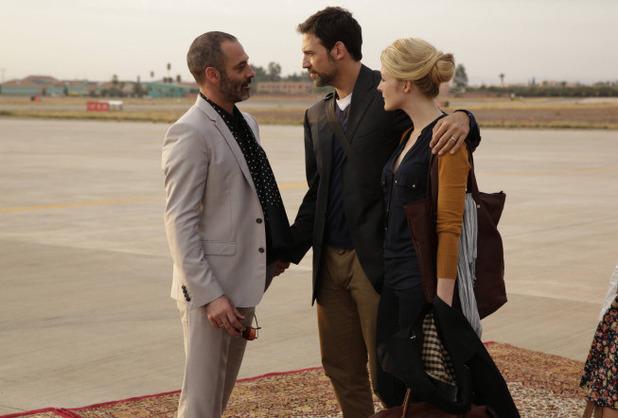 Ashraf Barhom as Jamal, Adam Rayner as Barry, Jennifer Finnegan as Molly in Tyrant