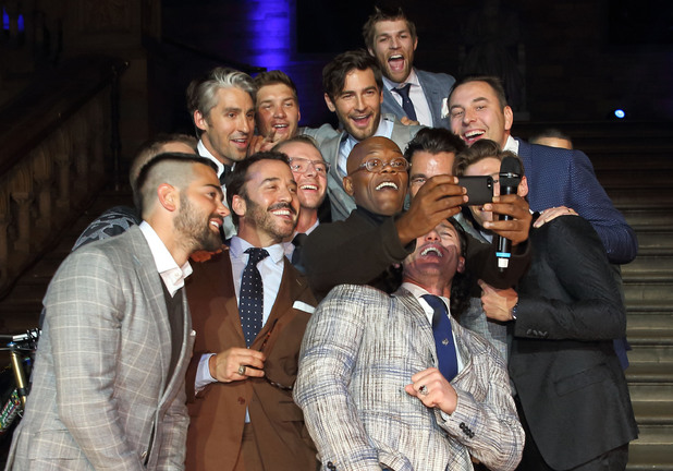 Jahmene Douglas, Samuel L Jackson, Simon Pegg, Jeremy Piven, Bear Grylls, George Lamb, Robert Konijc, Antony Mackie, David Gandy, David Walliams, Luke Evans, Jesse Metcalfe and Oliver Cheshire attend One For The Boys Fashion Ball at the Natural History Museum, London