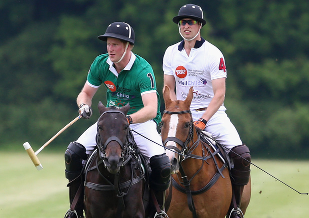 Prince Harry plays for team BMG against Prince William for team Maserati during the Jerudong Trophy charity polo match