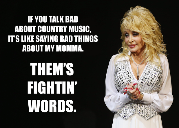 Dolly Parton fightin' words meme.