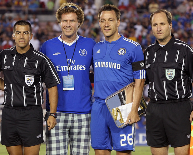 PASADENA, CA - JULY 21: Actor Will Ferrell poses with John Terry and Javier Zanetti at the Chelsea FC and Inter-Milan soccer match benefitting LAFC Chelsea and Africa Outreach Project at The Rose Bowl on July 21, 2009 in Pasadena, California. (Photo by Chris Weeks/WireImage)