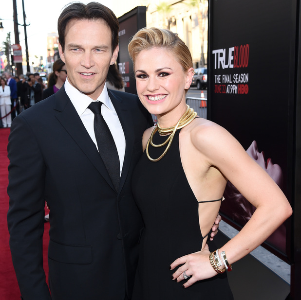 HOLLYWOOD, CA - JUNE 17: Actors Stephen Moyer (L) and Anna Paquin attend Premiere Of HBO's 'True Blood' Season 7 And Final Season at TCL Chinese Theatre on June 17, 2014 in Hollywood, California. (Photo by Michael Buckner/Getty Images)