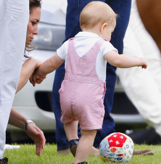 Prince George plays football whilst Prince William & Kate Middleton watch the Jerudong Trophy charity polo match