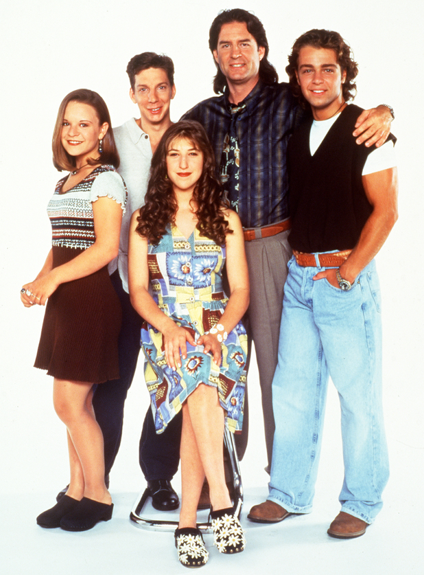 UNITED STATES - SEPTEMBER 19: BLOSSOM - Season Four - 9/19/93, Pictured, from left: Jenna Von Oy (Six), Michael Stoyanov (Anthony), Mayim Bialik (Blossom), Ted Wass (Nick), Joey Lawrence (Joey) , (Photo by Touchstone Pictures/ABC via Getty Images)