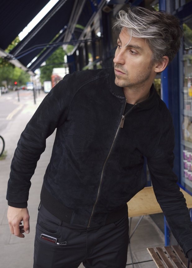 George Lamb models the world's first ever pair of wireless charging trousers
