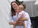 The youngest royal enjoys a kickaround at charity polo match while his father plays.