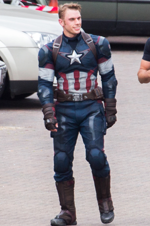 Filming takes place on the set of 'Avengers: Age of Ultron' stunt doubles Chris Evans, Scarlett Johansson
