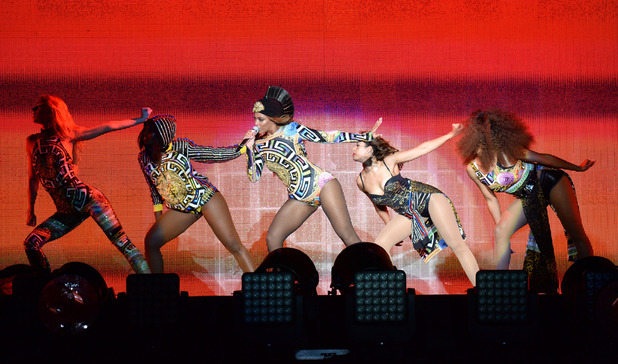 Beyonce performs during opening night of the 'On The Run Tour: Beyonce And Jay-Z' at Sun Life Stadium