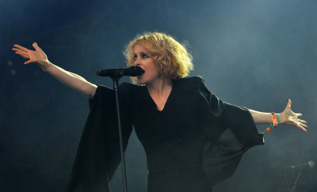 Alison Goldfrapp performs on the West Holts stage