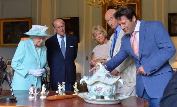 Queen Elizabeth II visits the Antiques Roadshow filming in Northern Ireland