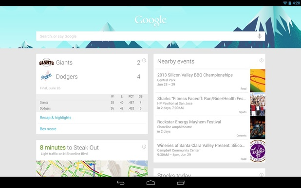 The latest Google Search app for Android devices