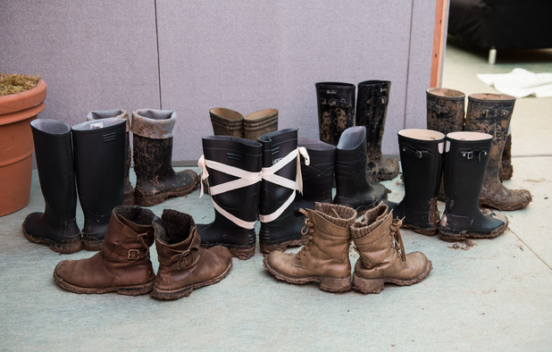Boots belonging to dancers of the English National Ballet seen backstage during the Glastonbury Festival