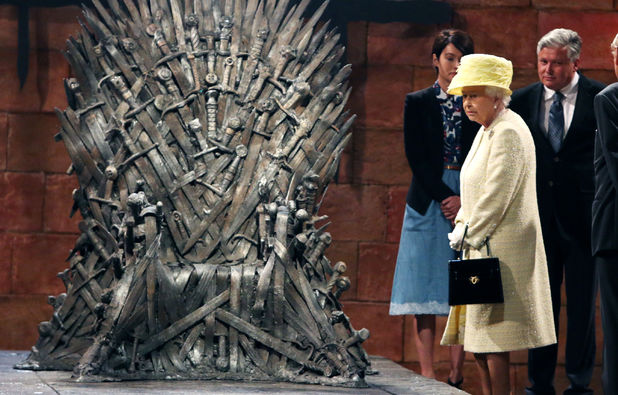 Queen Elizabeth II during a visit to the set of Game of Thrones in Northern Ireland