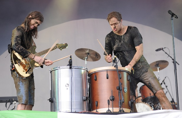 Wayne Sermon and Dan Reynolds of Imagine Dragons perform on the Other stage