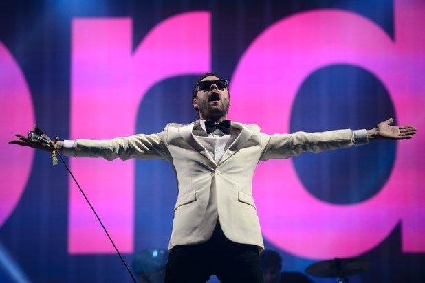 British band Kasabian performs on the Pyramid Stage on the final day of the Glastonbury Festival