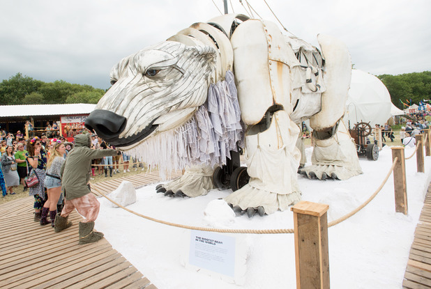 A giant mechanical bear at the Glastonbury 2014