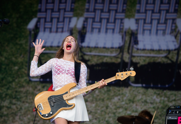 Este Haim of Haim performs on The Other Stage on Day 1 of Glastonbury Festival 2014
