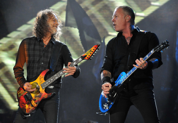 Kirk Hammett and James Hetfield of Metallica perform live on the Pyramid stage during day two of the Glastonbury Festival at Worthy Farm i