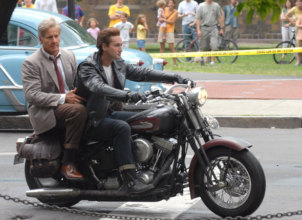 NEW HAVEN, CT - JUNE 28: Harrison Ford stunt double and Shia LaBeouf stunt double riding a motorcycle during filming of the latest 'Indiana Jones' movie at Yale University Campus on June 28, 2007 in New Haven, Connecticut. (Photo by Bobby Bank/WireImage)