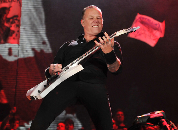James Hetfield of Metallica perform live on the Pyramid stage during day two of the Glastonbury Festival at Worthy Farm i