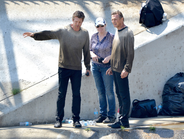 "Los Angeles, CA - Actor Liam Neeson gets dirty while shooting his new movie, ""Taken 3"" in the L.A. River. During the scene, Liam, woke up in a sewer drain, unsure of where he is and made his way down the steep concrete walls before stumbling along the filthy water of the basin. Liam also had a double, who did some of the stunts and chatted in between takes. Pictured: Liam Neeson Ref: SPL735830 090414"