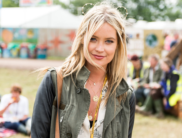Laura Whitmore shows her face in the guest hospitality area at Glastonbury Festival 2014