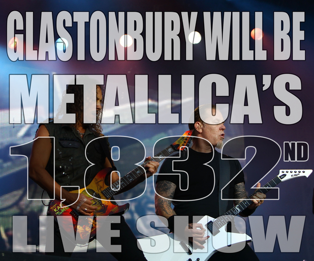 Metallica Glastonbury fact card.