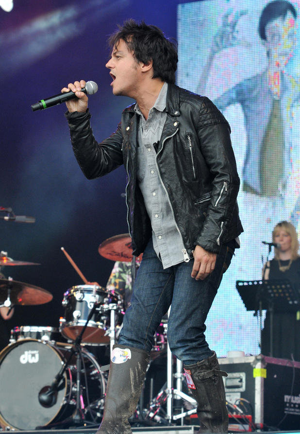 Jamie Cullum performs as a special guest with Deltron 3030 on the West Holts stage on Day 1 of Glastonbury Festival 2014