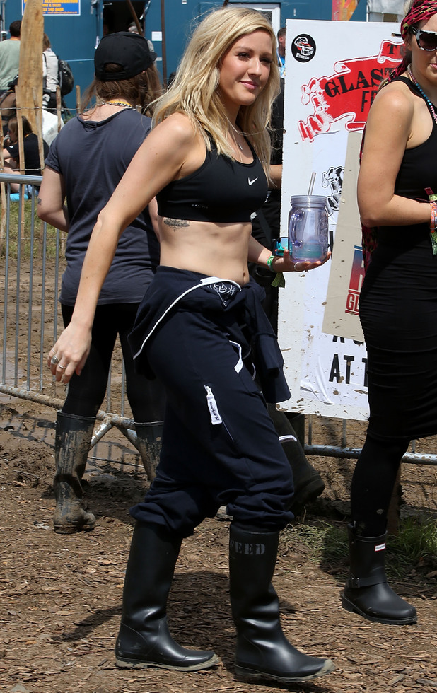 Ellie Goulding walks around Glastonbury ahead of her set tonight