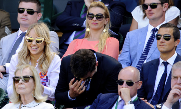 Wimbledon Tennis Championships, London, Britain - 04 Jul 2014 Suki Waterhouse, Bradley Cooper, Justin Rose, Bear Grylls and Prince Andrew 4 Jul 2014