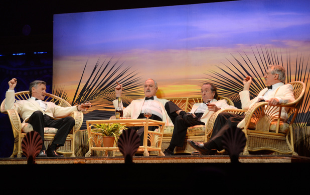 Michael Palin, John Cleese, Eric Idle and Terry Jones perform on the opening night of 'Monty Python Live (Mostly)'