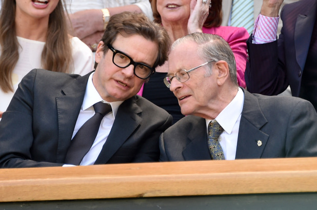 Caption:LONDON, ENGLAND - JULY 03: Colin Firth and his father David Firth attend the quarter final match beteween Lucie Safarova v Petra Kvitova on centre court during day ten of the Wimbledon Championships at Wimbledon on July 3, 2014 in London, England. (Photo by Karwai Tang/WireImage)