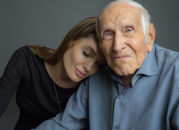 Angelina Jolie, Louis Zamperini pose for Unbroken publicity picture