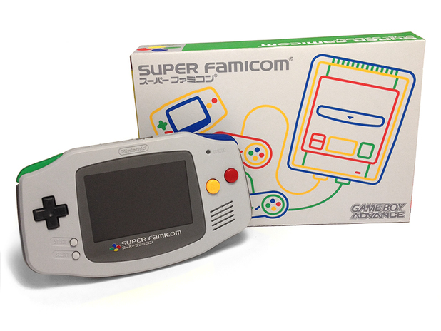 A Game Boy Advance with the colour scheme of a SNES