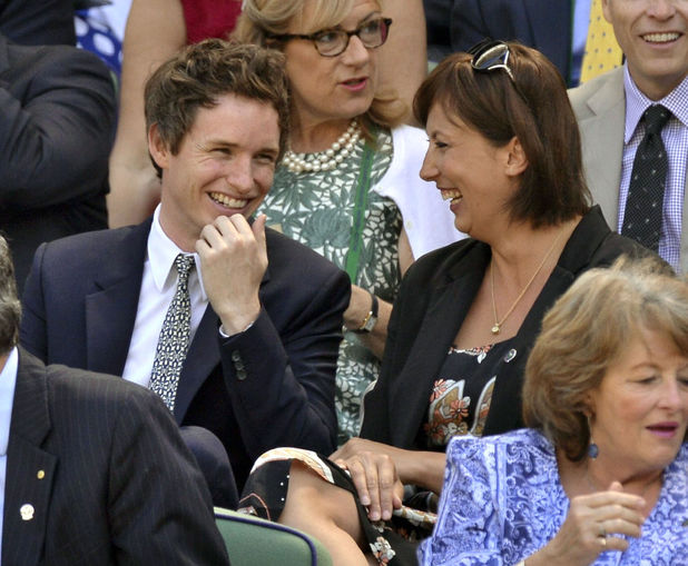 Wimbledon Tennis Championships, London, Britain - 03 Jul 2014 Eddie Redmayne and Miranda Hart 3 Jul 2014