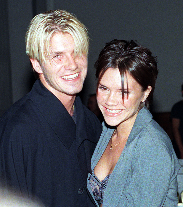 Manchester United footballer David Beckham and Victoria Adams ('Posh Spice') attend the Antonio Berardi fashion show held in London.