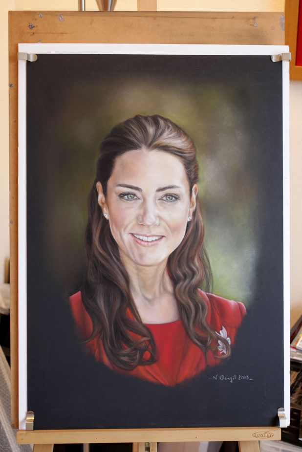 "Artist praised for 'warm' portrait of Duchess of Cambridge after official one is criticised, Moulton, Suffolk, Britain - 04 Mar 2013 Portrait of Catherine Duchess of Cambridge by Noreen Denzil 4 Mar 2013 *Full story: http://www.rexfeatures.com/nanolink/k949 An artist has been praised for her ""warm"" portrait of the Duchess of Cambridge - after the official one was slammed by critics. Norren Denzil, 47, was inspired to paint her own picture of Kate Middleton after the official portrait by Paul Emsley was branded ""rotten"" and ""unflattering."" She spent three weeks perfecting her portrait, which shows the royal looking relaxed and beaming warmly, and now plans to show it to the Duchess. Noreen said: ""The official portrait is technically brilliant but I don't think it captures the true natural beauty and personality of the Duchess. ""She has a great deal of warmth, which is why she is so popular and I wanted to show that in a portrait of my own. ""I'm pleased with the result and I've had a lot of good feedback, saying that my picture makes her look much more human."""