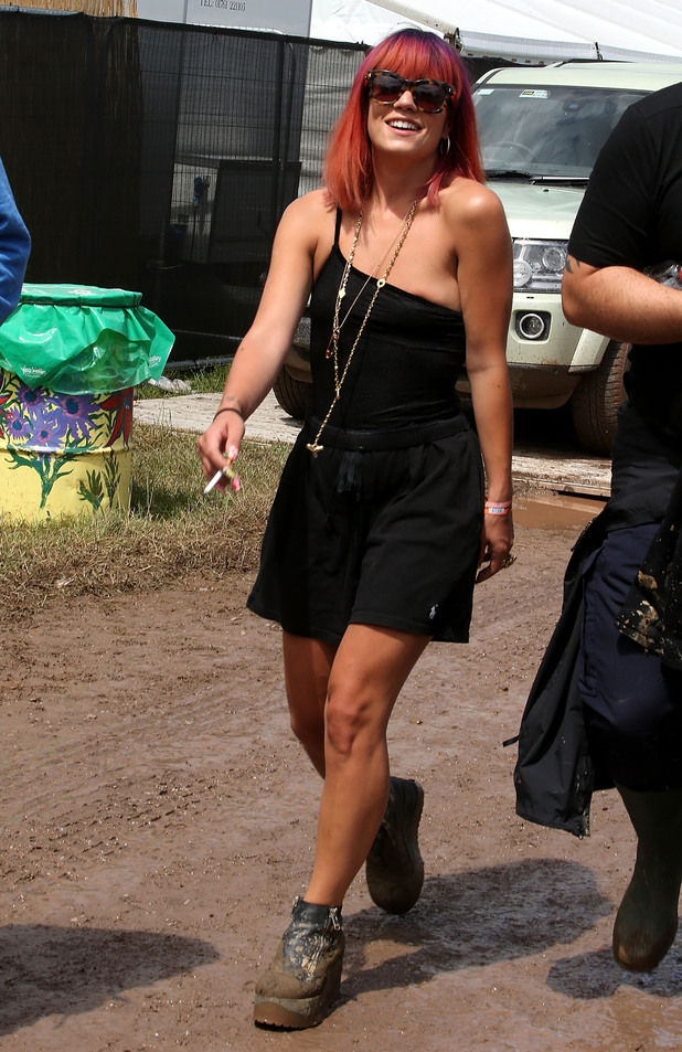 Lily Allen attends the Glastonbury Festival 2014