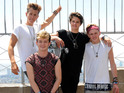 Tristan Evans, Connor Ball, Brad Simpson and James McVey of The Vamps visit the Empire State Building