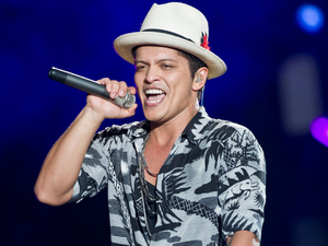Bruno Mars performs on stage at the Wireless Festival London