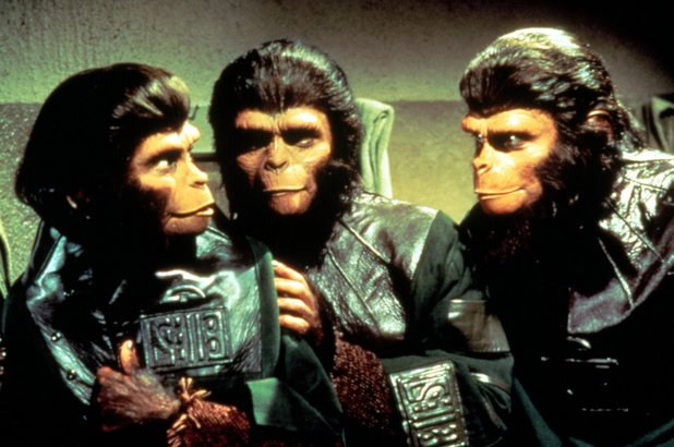 Kim Hunter, Lou Wagner and Roddy McDowall in Planet of the Apes (1968)