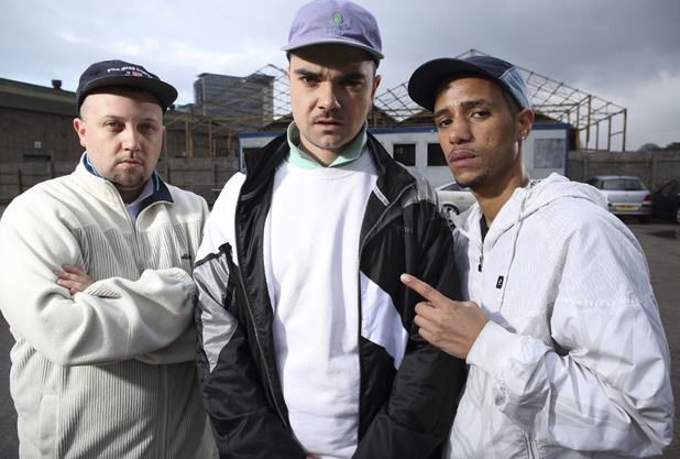 Decoy (Dan Sylvester Woolford), Grinda (Allan 'Seapa' Mustafa) and Beats (Hugo Chegwin) in People Just Do Nothing