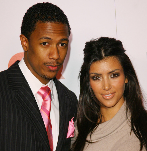 Nick Cannon and Kim Kardashian during Jay-Z Celebrates 'Kingdom Come' Album Release Party - Arrivals at Area in West Hollywood, California, United States. (Photo by Michael Tran/FilmMagic)