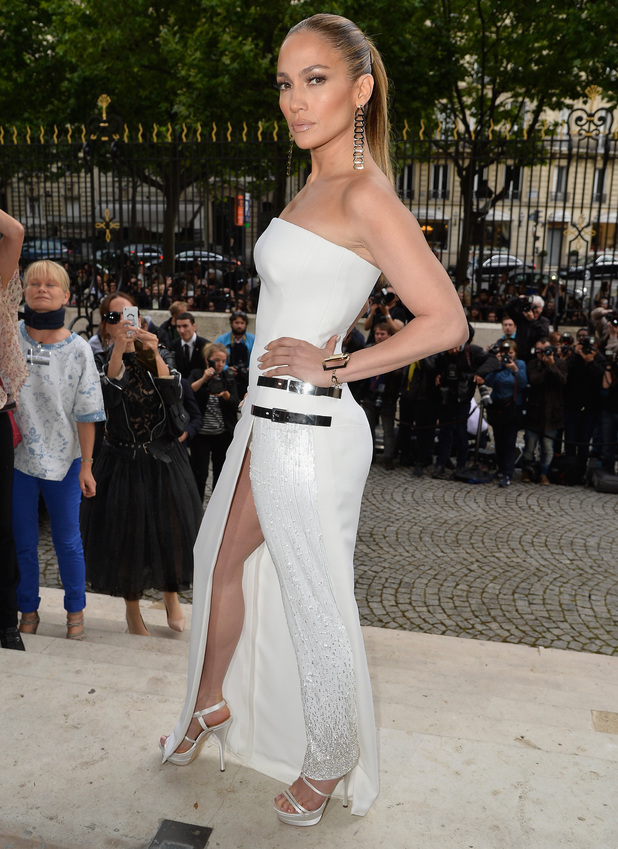 PARIS, FRANCE - JULY 06: Jennifer Lopez attends the Versace show as part of Paris Fashion Week - Haute Couture Fall/Winter 2014-2015 on July 6, 2014 in Paris, France. (Photo by Pascal Le Segretain/Getty Images)