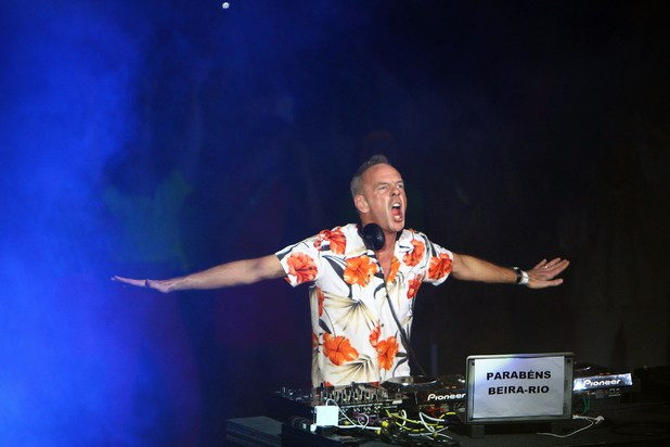 Fat Boy Slim plays during the inauguration of the Beira-Rio Stadium, in Porto Alegre, Rio Grande do Sul, Brazil.