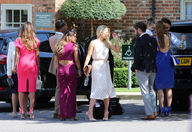 The Saturdays arrive for Frankie Sandford's wedding