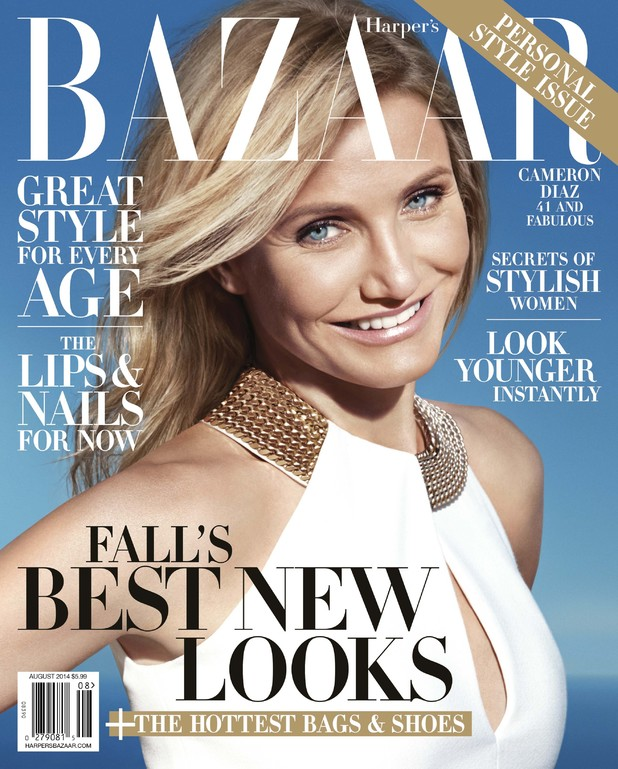 Cameron Diaz on the August 2014 cover of Harper's Bazaar